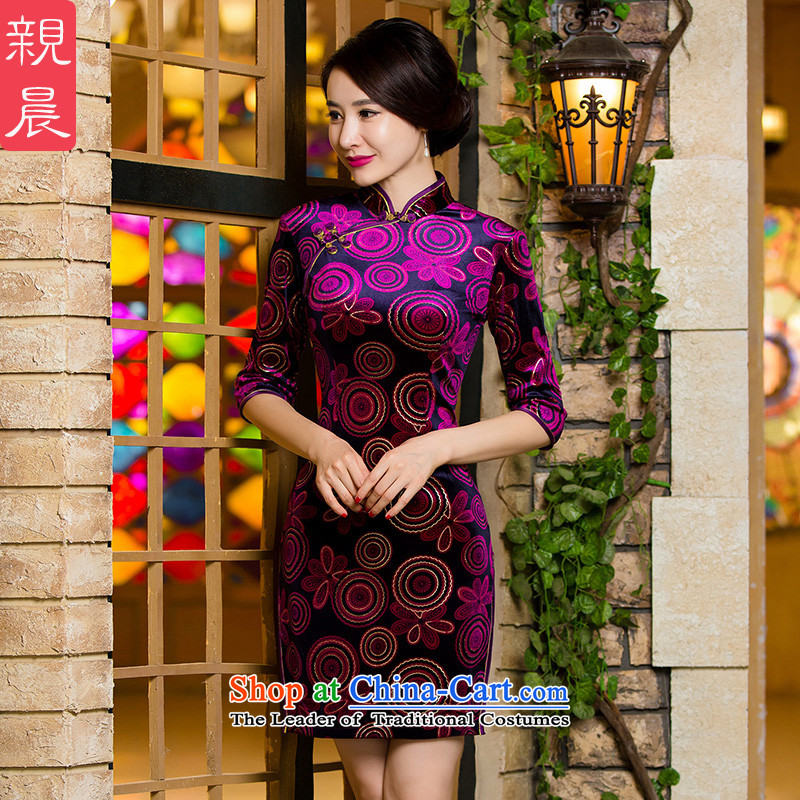 Gold velour cheongsam dress wedding dress mother load of autumn and winter retro improved short_ Older wedding dresses short of female?2XL-- 10 day shipping
