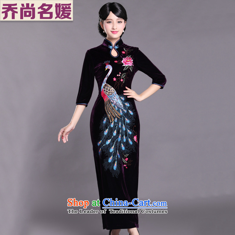 Kim Choo skirt embroidery scouring pads qipao gown long SRXH004 gatherings in purple燲XXL cuffs