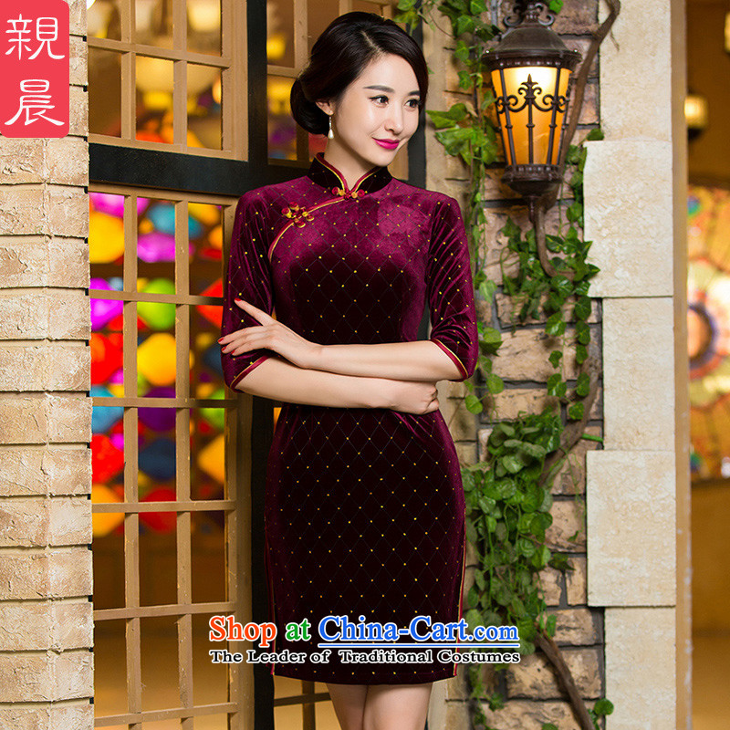 Install MOM autumn and winter wedding with velvet cheongsam dress in 2015 new Elderly Banquet short, wedding dresses short-sleeved燬--_ 10 day shipping