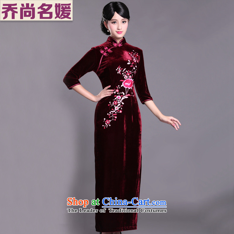 Kim Choo skirt embroidery scouring pads qipao gown long SRXH005 gathering maroon in cuff聽L