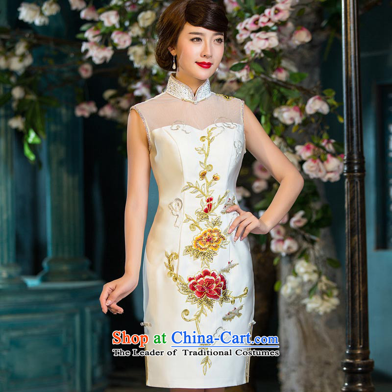 Eason Chan point cheongsam dress autumn 2015 new stylish with improved sexy Lace Embroidery Sau San video thin Chinese female dresses White�M payment for about a week after shipment