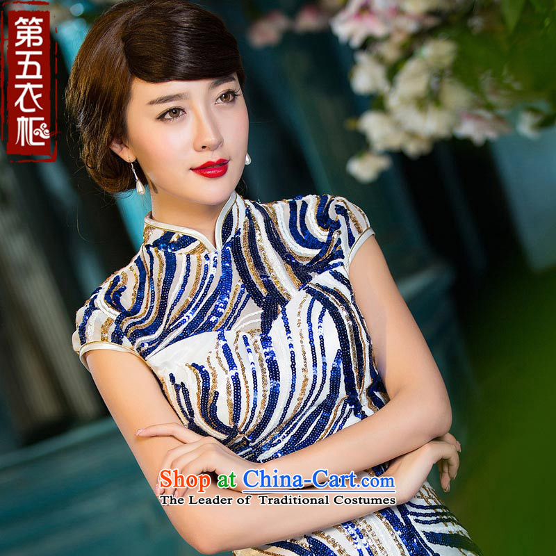 Eason Chan point cheongsam dress 2015 new short-sleeved autumn Sau San Spangle Embroidery blue stripes of the forklift truck and stylish long gown of blue and white?XL