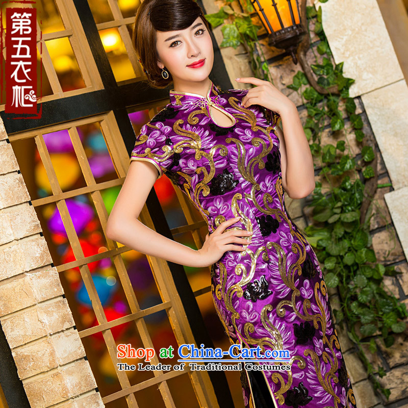 Eason Chan point long on-chip cheongsam dress 2015 new autumn of the forklift truck in stylish older marriages mother replacing dresses purple燤 for about a week after Payment Sent