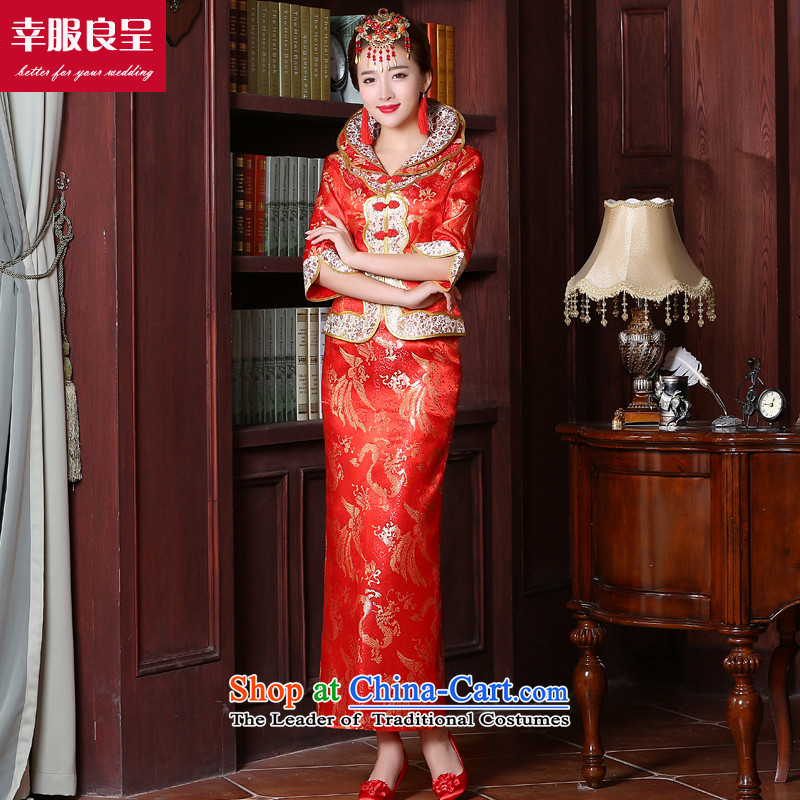 Toasting champagne bride services serving Chinese style wedding dresses marriage red large stylish wedding dress code 2015 new autumn and winter long sleeve length of 7 to the establishment of a?S
