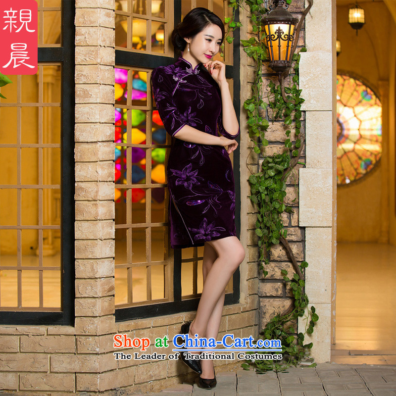 The elderly in the skirt qipao velvet wedding MOM pack retro improved short, purple, cuff dresses 2015 new short of?work 10 days Shipment