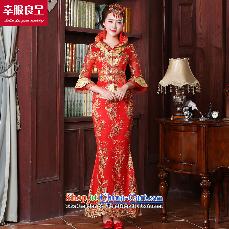 However Service Chinese cheongsam dress red married girl brides long large stylish wedding gown improved 2015 autumn and winter 7 cuff crowsfoot skirt?S