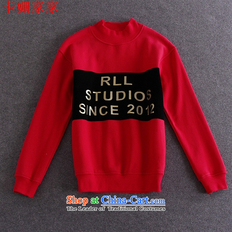 ?The European site autumn load 15A111 new women's add lint-free wild sweater RED?M