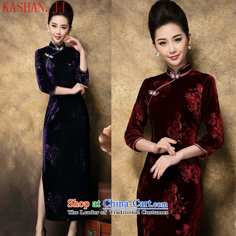 Mano-hwan, Kim scouring pads embossing seven long-sleeved cheongsam dress new women Fall/Winter Collections wine red�XL