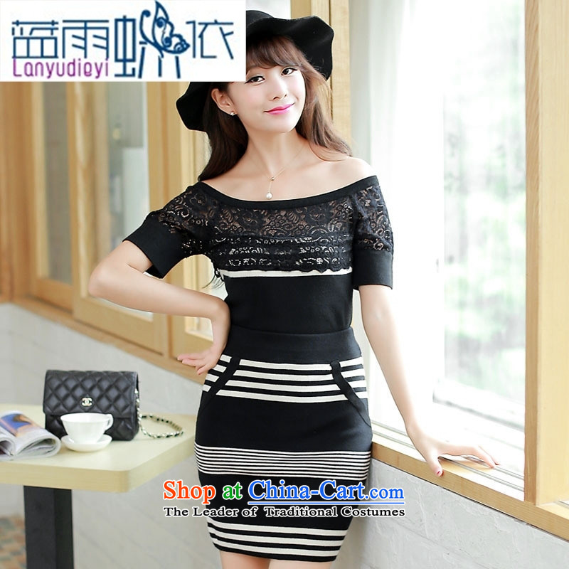 Ya-ting Shop Boxed new autumn 2015 ladies' knitted dress two kits stitching knocked the word color shoulder dresses card is code