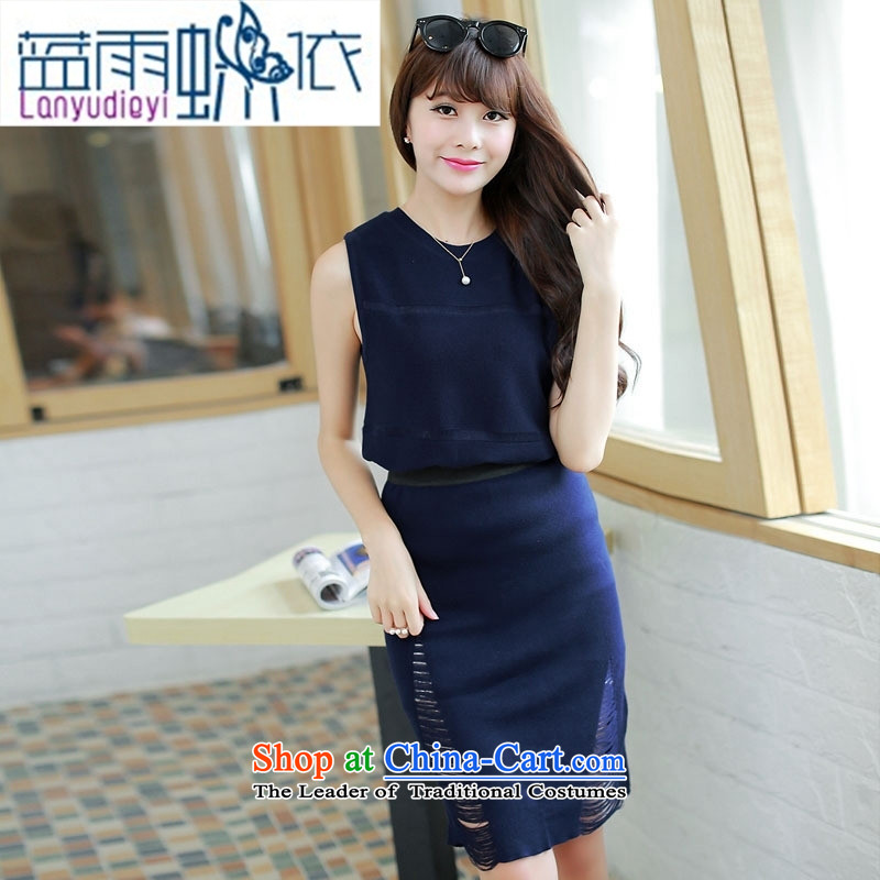 Ya-ting Shop Boxed new autumn 2015 ladies' knitted sleeveless solid color two kits skirt dresses edging chestnut horses are code