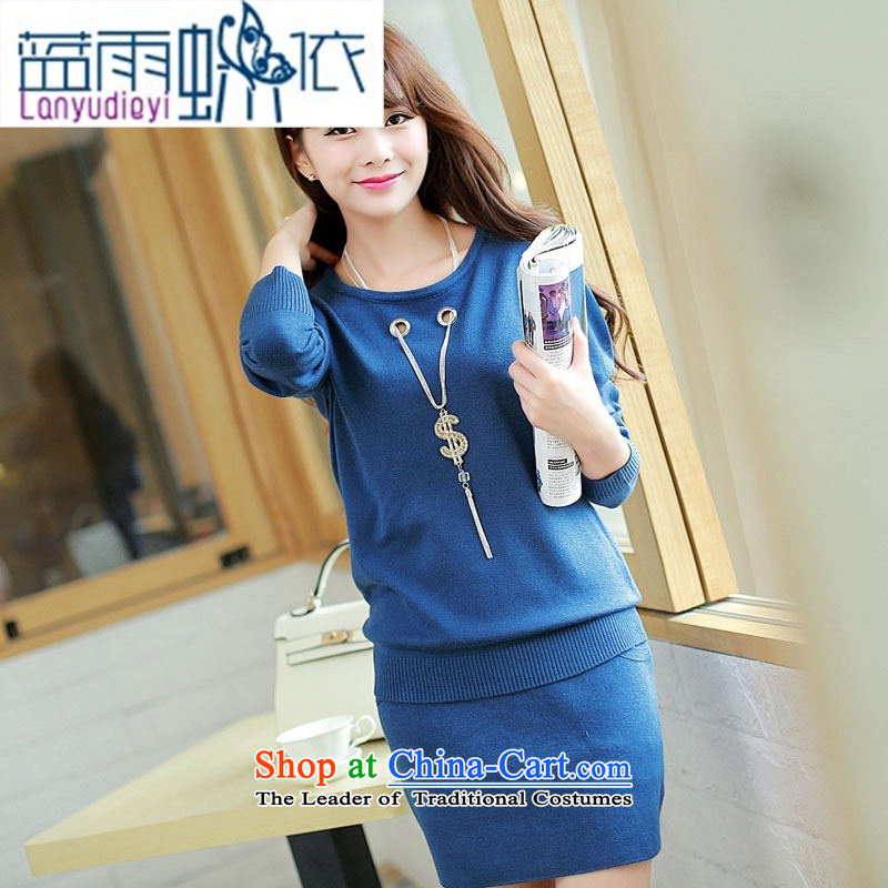 Ya-ting Shop Boxed new autumn 2015 ladies' knitted dress two kits are maroon code