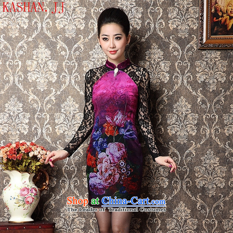 Mano-hwan's middle-aged moms new stamp scouring pads package and a mock-neck Sau San long-sleeved qipao picture color燤