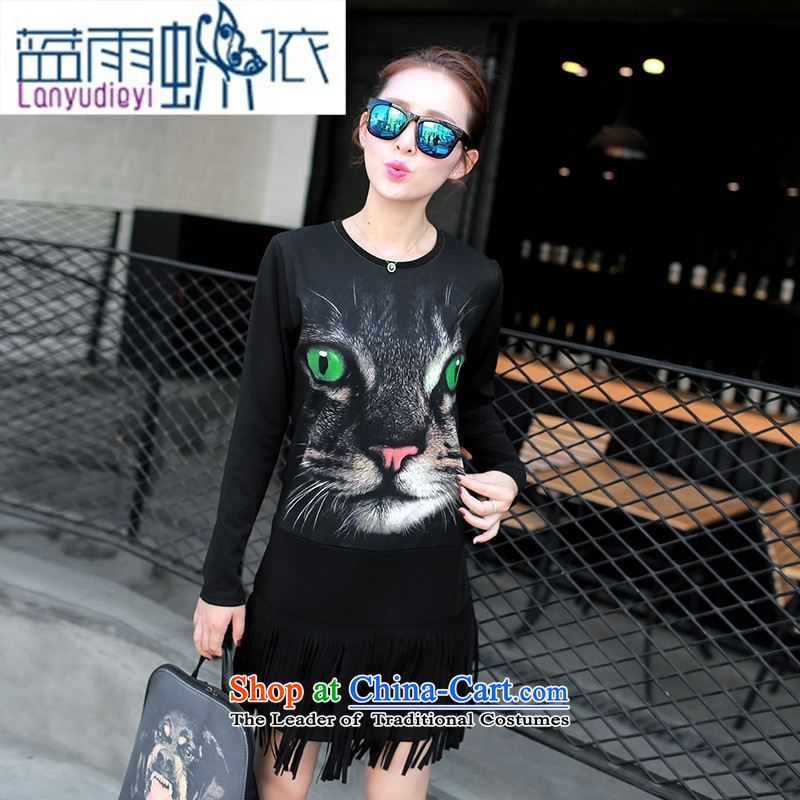 Ya-ting Shop Boxed new autumn 2015 Female European site long round-neck collar long-sleeved T-shirt, forming the edging shirt cats black M