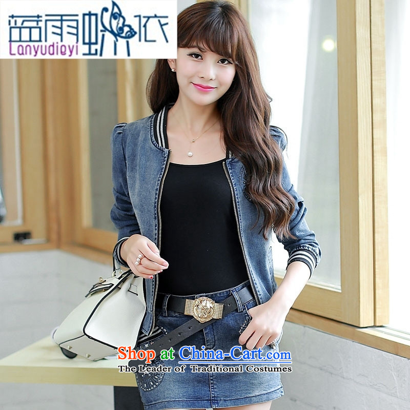 Ya-ting shop 2015 Autumn new for women stamp ironing drill cowboy two kits skirt short skirt Denim blue�L