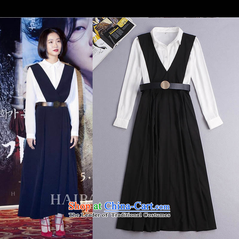 Install the latest Autumn 2015 Hami, Strap long skirt long sleeved shirt + 2 piece dresses fall inside the girl� Y34G4�picture color�L