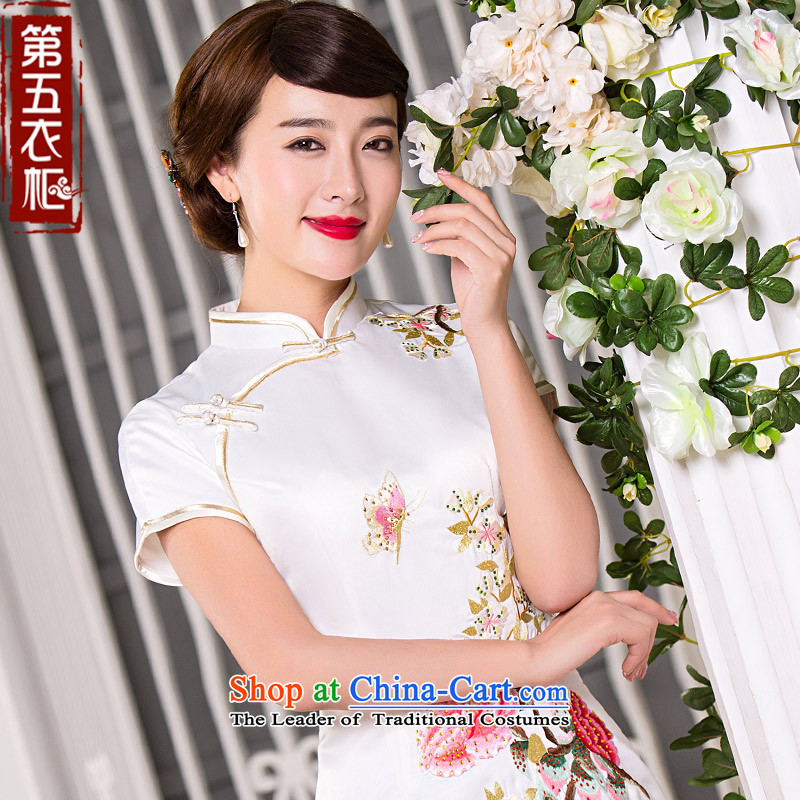 Eason Chan point qp cheongsam dress 2015 new fall short of short-sleeved Sau San video thin white simple daily marriage banquet dress white燣