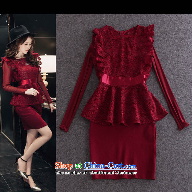 Load New Hamilton autumn elegant sexy lace foutune I should be grateful if you would have tank top + long-sleeved dresses second piece�Y30A27�wine red�S