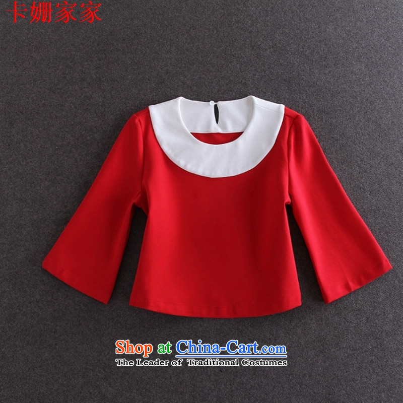 燭he European site autumn 50A589 load new women's stylish blouse Color Plane Collision RED燤