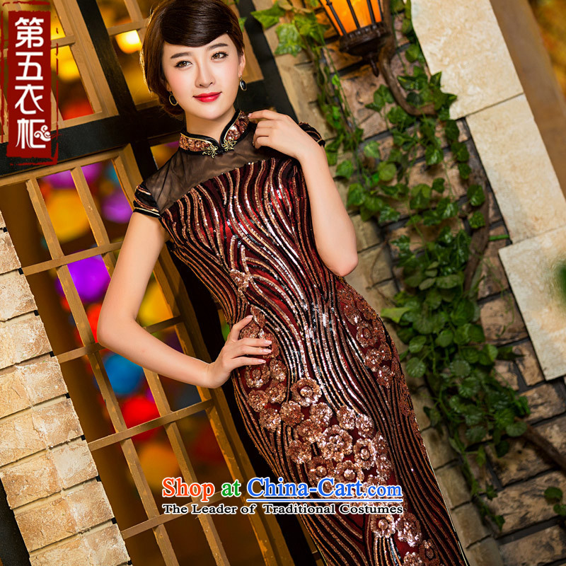 Eason Chan point long cheongsam dress 2015 new fall off-chip lace marriages in older large load mother-to-day dress wine red?L payment for about a week shipment
