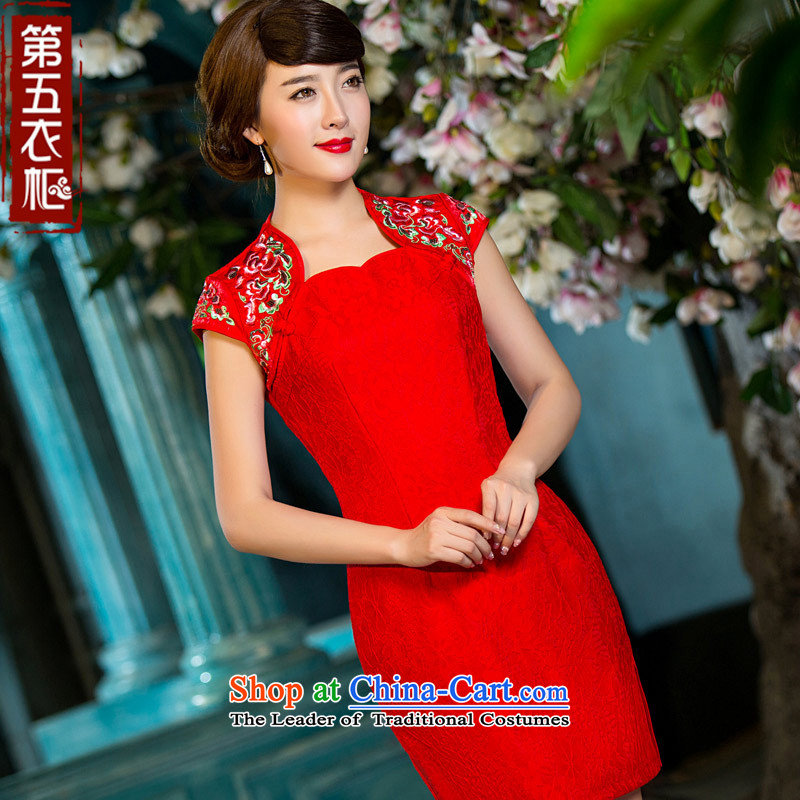 Eason Chan bows Service Bridal Fashion point new autumn 2015 replacing improved minimalist brides Sau San Chinese style wedding services red?XXL toasting champagne red