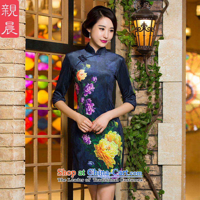 The elderly in the skirt qipao velvet wedding MOM Pack 2015 New Fall_Winter Collections of nostalgia for short_ Cuff Female dress short_燿id not consider the ten days Shipment