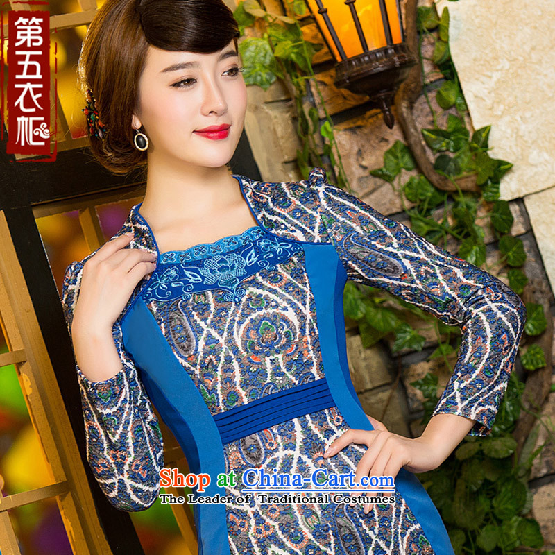 Eason Chan point cheongsam dress autumn 2015 new boxed long-sleeved Chinese embroidery Sau San video thin stylish mother loaded short skirt blue?XXXL
