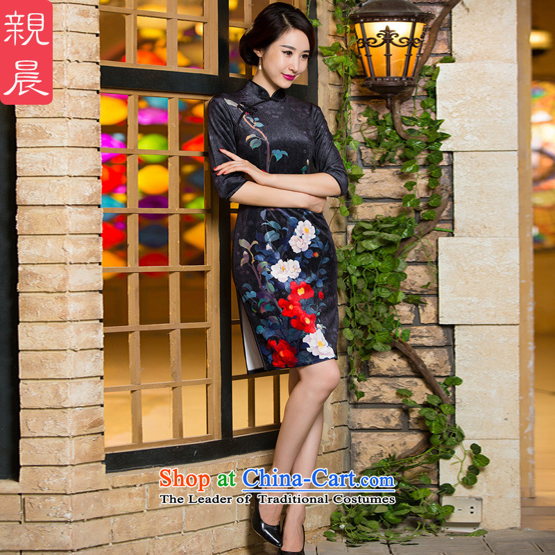 Kim scouring pads in the skirt qipao older wedding-dress Mother New_ Fall_Winter Collections of nostalgia for the improvement of the Cuff short skirt,?L