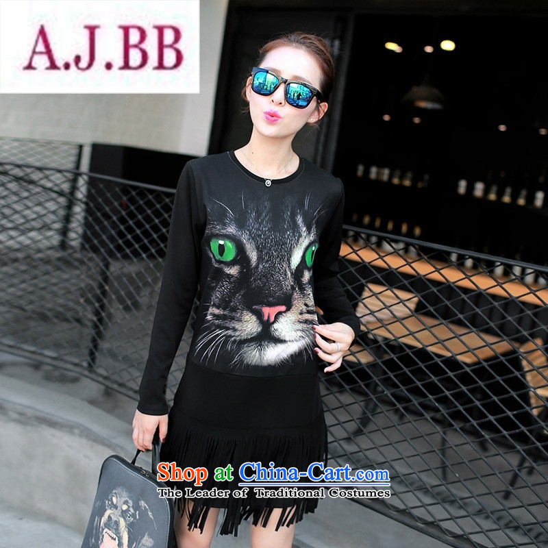 Ya-ting stylish shops 2015 Autumn replacing New Female European site long round-neck collar long-sleeved T-shirt, forming the edging shirt cats Black燲L