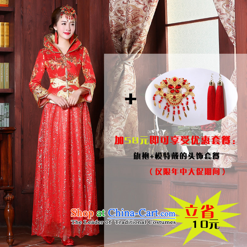 Chinese bride wedding dress bows services 2015 Autumn New Sau Wo Service Pack wedding gown bride red long sleeved at +68 9 qipao Yuan Head Ornaments?2XL
