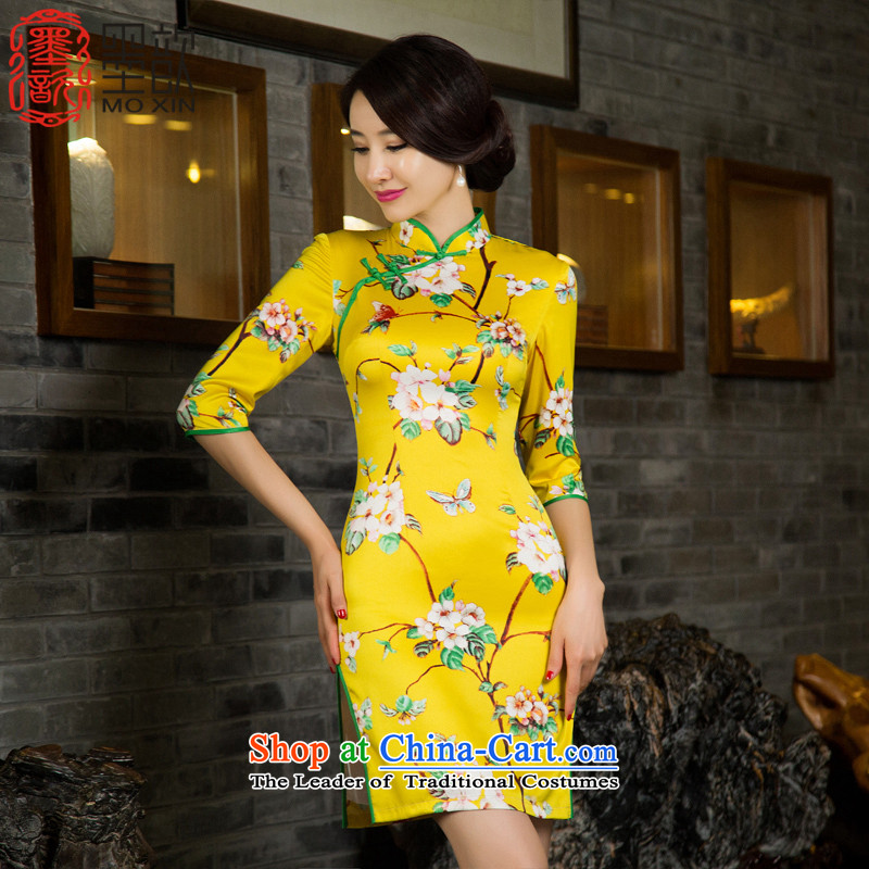 Ink 歆 arrogance 2015 7 cuff qipao autumn new Ms. of daily cheongsam dress cheongsam dress M11030 retro improved picture color M