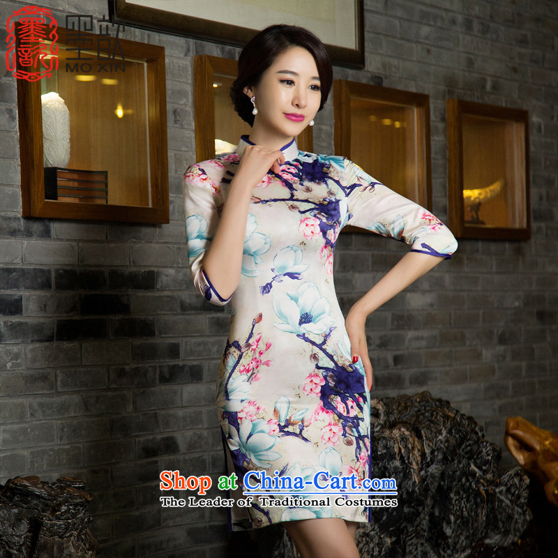 The buds � ink?pack retro elegant autumn 2015 7 double cheongsam dress improvement cuff qipao new ethnic women?T11031?picture color?M