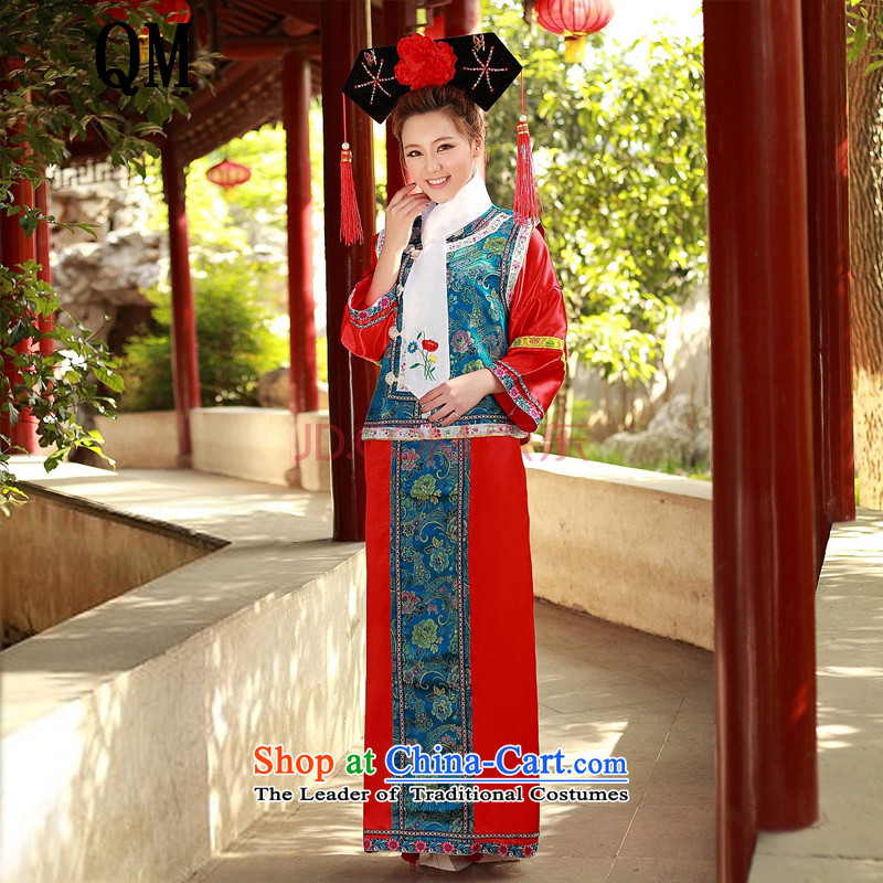 At the end of Light Classical Han-Gwi-flag to serve women ancient mount�cosplay Manju court dresses�CX1�Blue Children 1 M2-1 m 3