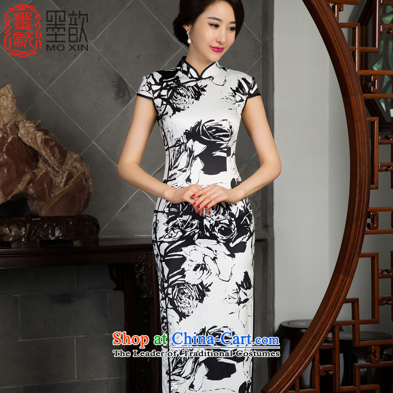 The print image from the 2015 Long 歆_ installed in the autumn of qipao skirt cheongsam dress Ms. Long new retro improved cheongsam dress M12021 picture color XXL