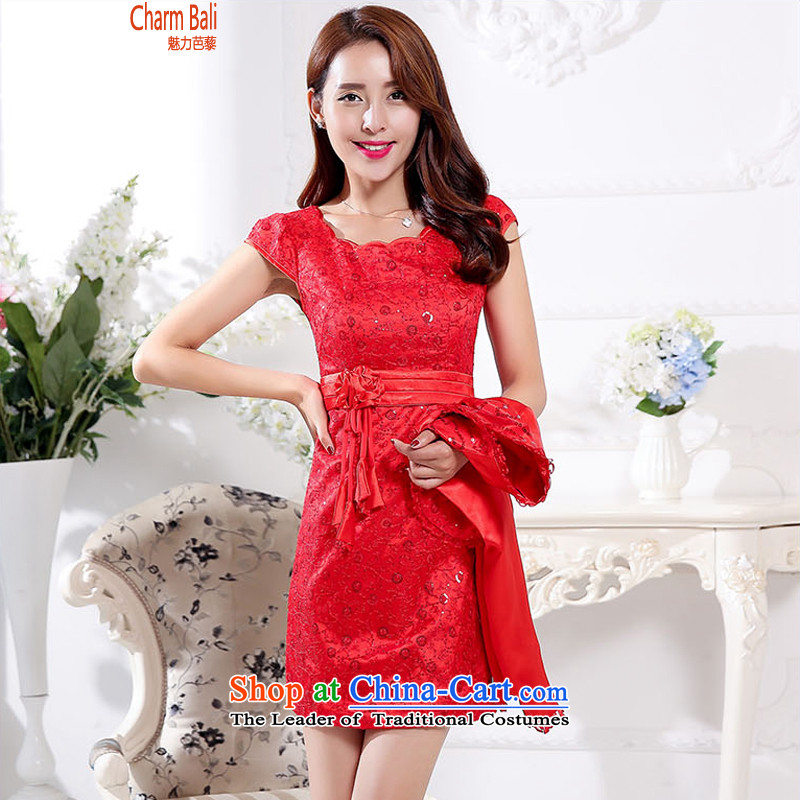 Replace the Korean version of autumn 2015 Sau San lace collar retro in long qipao gown dresses two-piece set red XXL
