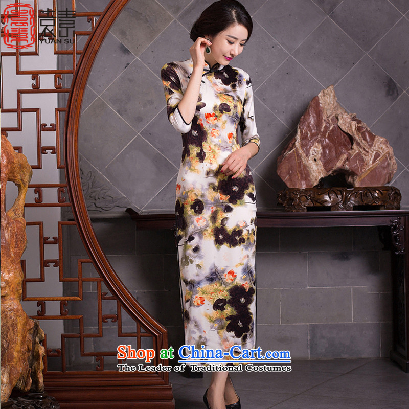 Yuan of finely twisted linen Arabic 2015 retro cheongsam dress new fall inside qipao improved dresses cheongsam dress stylish Ms. long QD277 picture color XXL