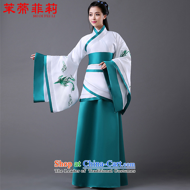 Energy tifi women improved costume Li Han-wide sleeves will to cut long skirt tracks the Civil Administration retro green are code