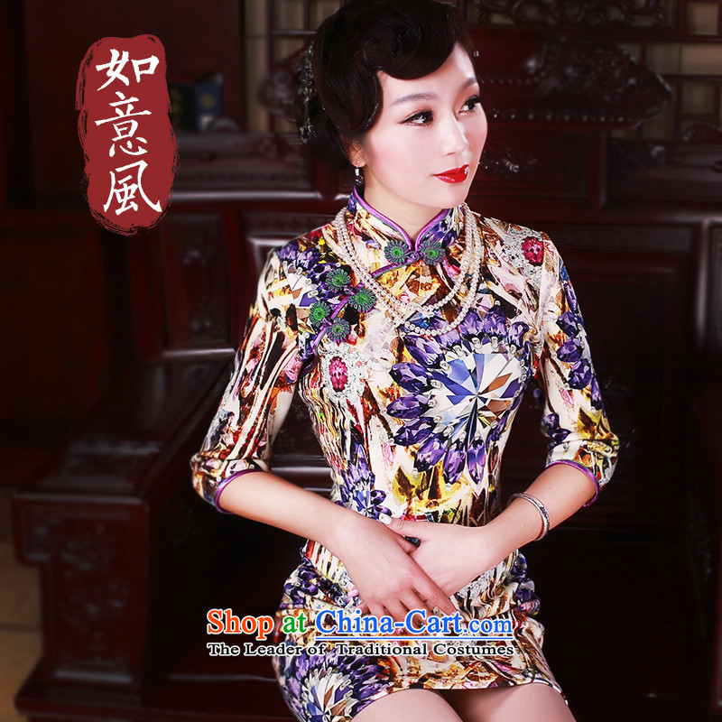 After a new wind loading in the spring and autumn 2015 retro look stylish improved improvements cuff short skirt 503.8 503.8 (qipao suit?S