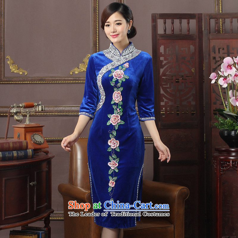 Oriental aristocratic elegant autumn and winter 2015 new seven female qipao daily cuff velvet banquet Spangle Embroidery Low Power's cheongsam dress 574262 Blue L