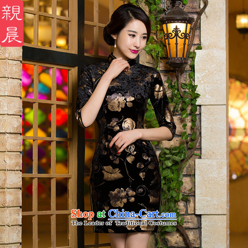 Wedding wedding wedding dress mother Kim velvet cheongsam dress replacing Fall/Winter Collections in the retro in older women cuff dresses short of the 10-day shipment 2XL--