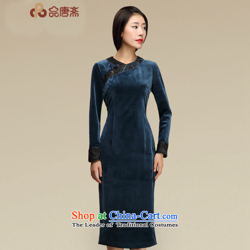 No. Tang Ramadan cheongsam dress? 2015 autumn and winter new ethnic retro female Kim scouring pads qipao Blue?M