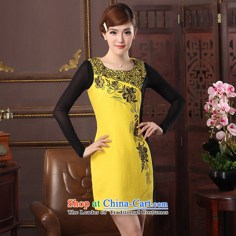 Oriental aristocratic Katie 2015 autumn and winter new women's sleeveless qipao daily a spend their improved embroidery elegant qipao skirt?574413 Yellow?M