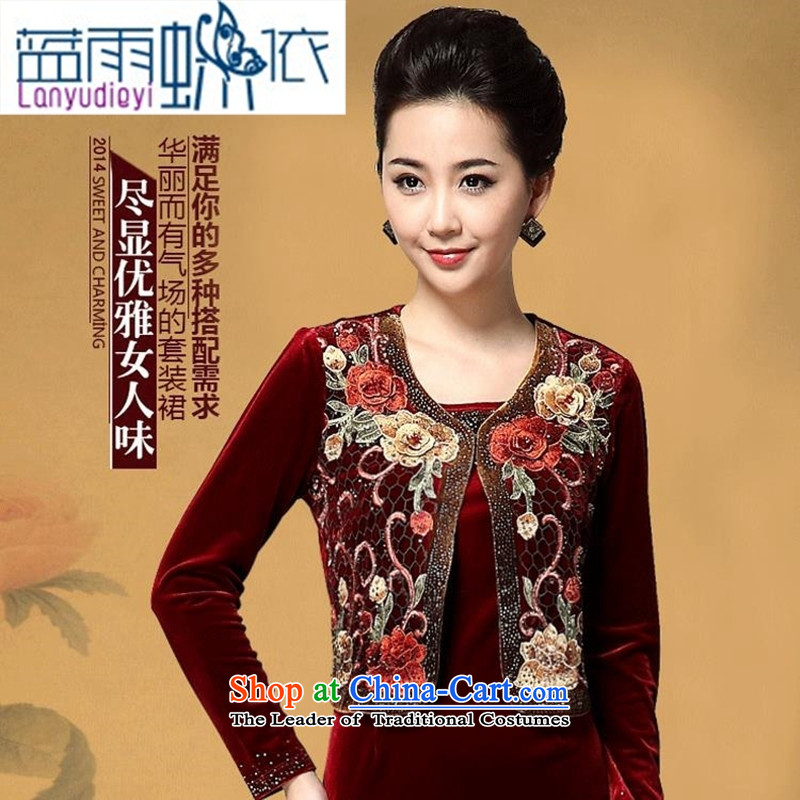 Ya-ting shop 2015 Autumn new wedding wedding ceremony in mother Kim velvet skirts older two kits dresses wine red?XXL