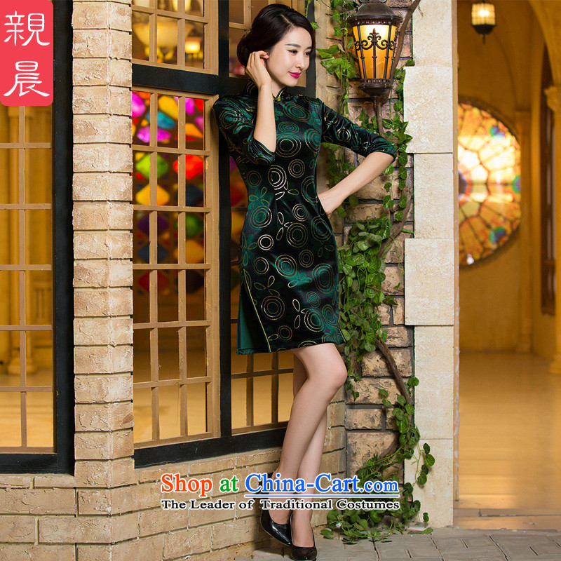 The wedding-dress mother Kim scouring pads cheongsam dress replacing Fall_Winter Collections wedding dresses retro short of improved short-sleeved_?2XL