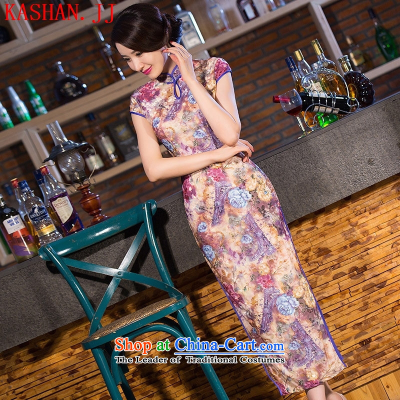 Mano-hwan's 2015 new Chinese antique traditional collar qipao gown wedding mother velvet long qipao figure XL