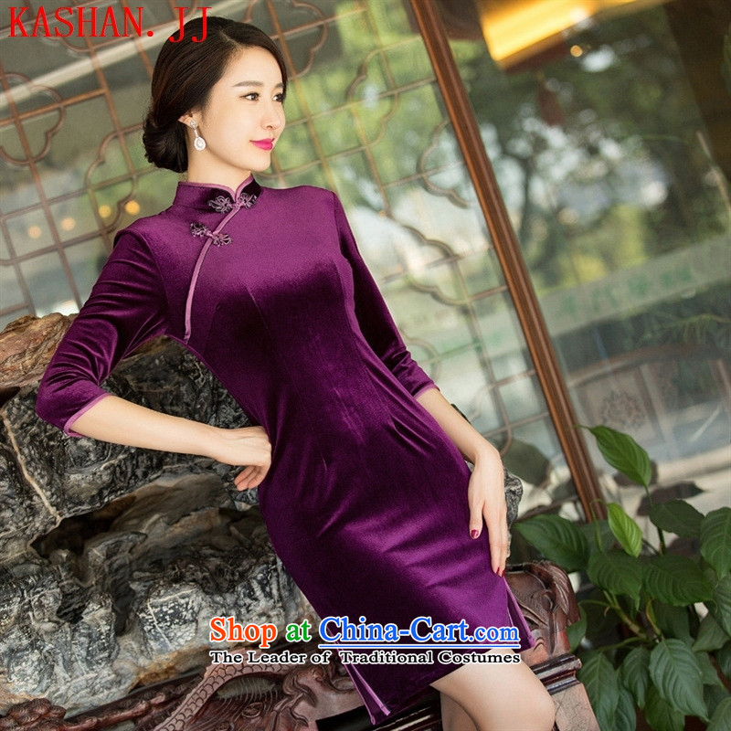 Mano-hwan's new autumn and winter female Stylish retro solid color embroidered short of qipao scouring pads in the ordinary course of Sau San temperament cheongsam dress cuff figure聽M