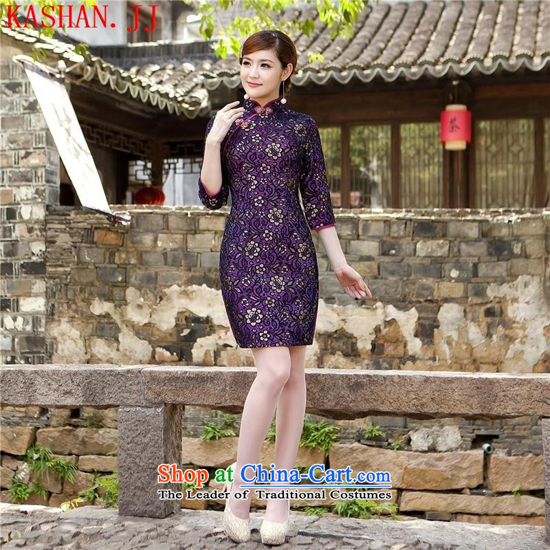 Mano-hwan's new summer new stylish temperament. cuffs qipao lace cheongsam dress women's dresses figure?L