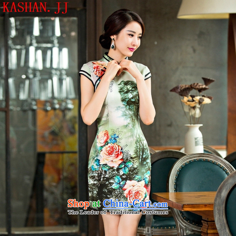 Mano-hwan's Summer 2015 New Silk Cheongsam improved stylish lady dresses retro style qipao gown figure L