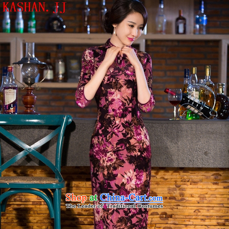 Mano-hwan's 2015 new fall inside the improvement of qipao cheongsam dress large scouring pads installed MOM dresses autumn load figure聽XXL