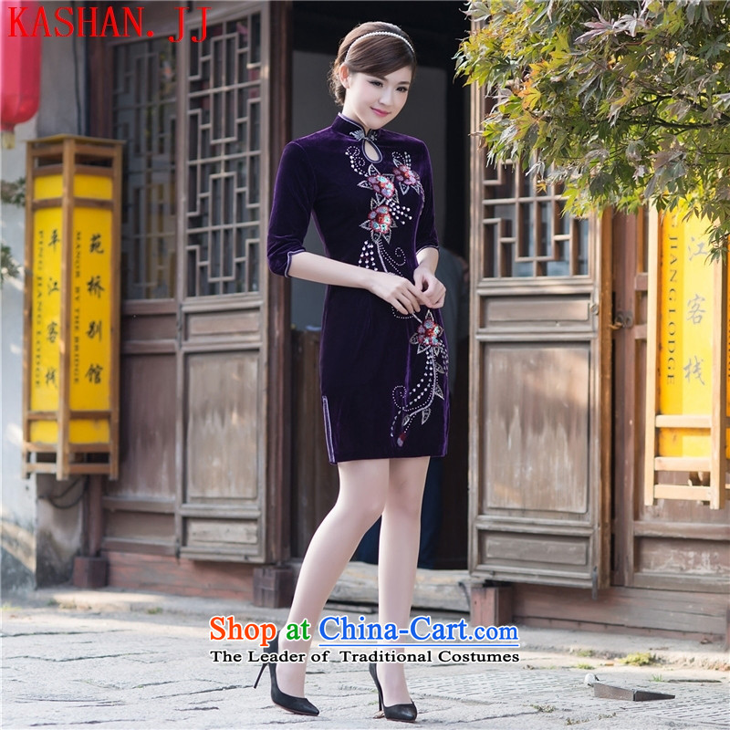 Mano-hwan's new summer and fall with embroidery qipao improved Stylish retro manual video thin scouring pads in the reusable cuffs cheongsam dress figure?M