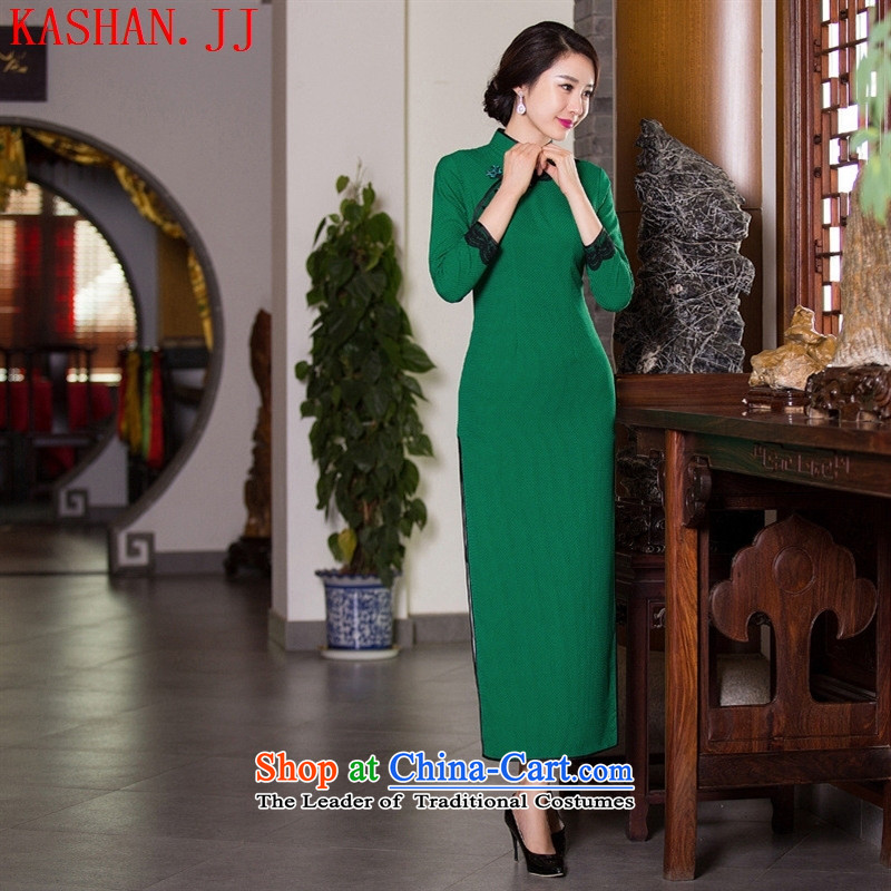 Mano-hwan's 2015 new autumn and winter cheongsam lace retro style qipao Sau San video thin dresses improved cheongsam dress figure M